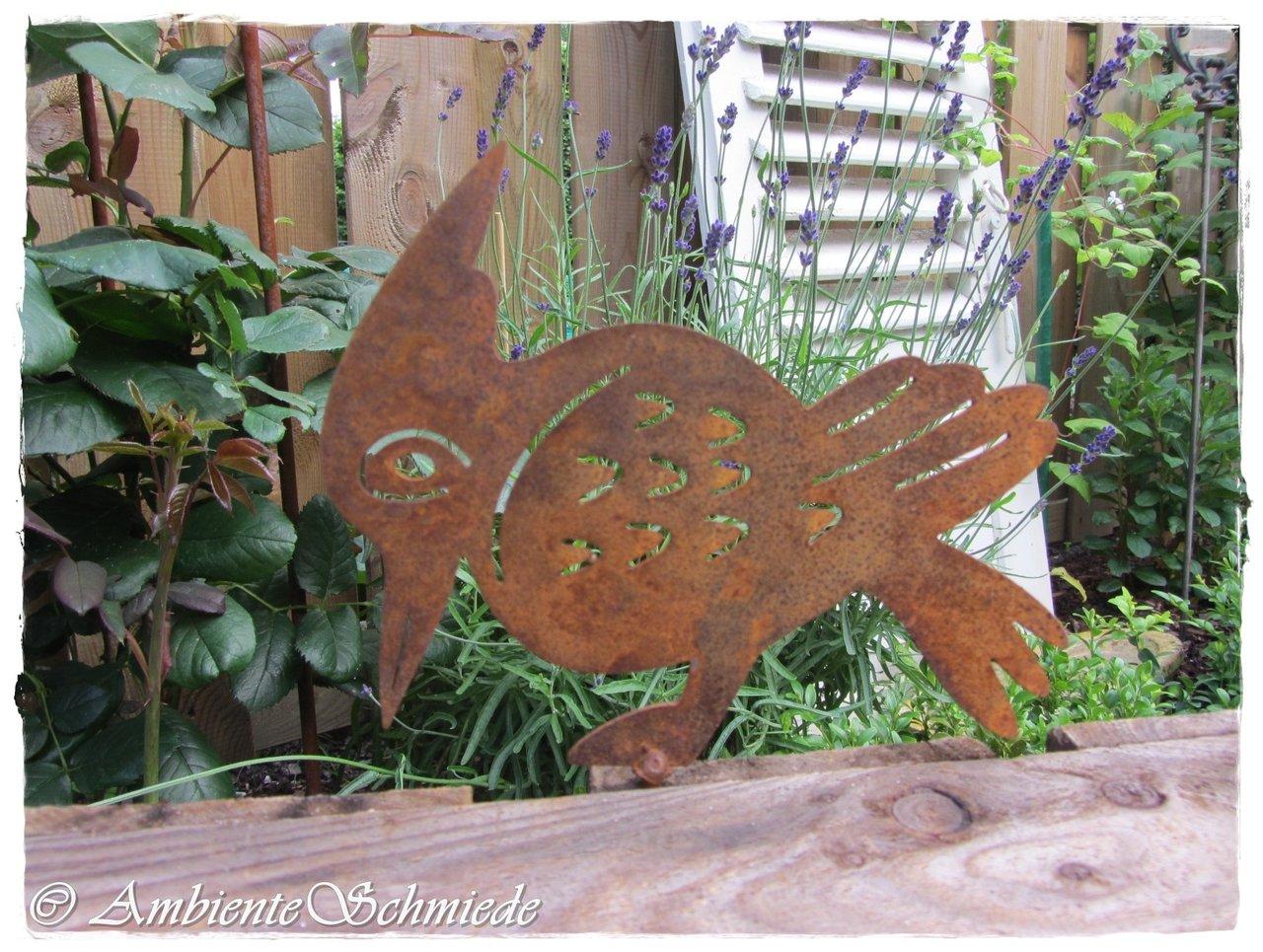 Rost specht vogel garten deko rost deko zaun hocker tier for Gartendeko gusseisen rostig