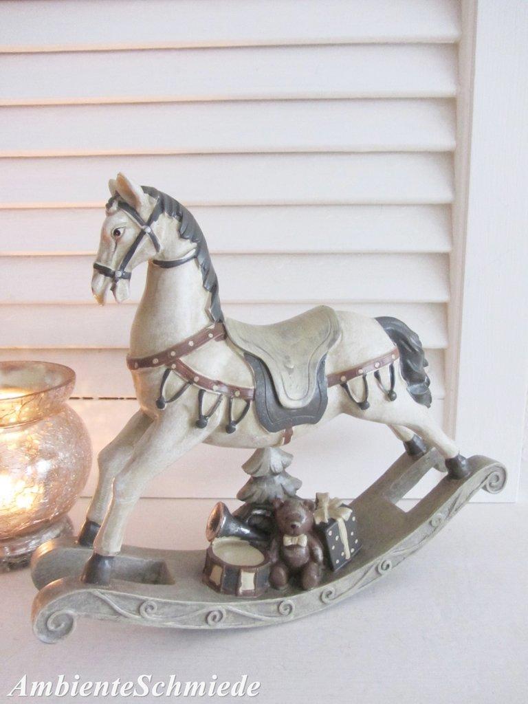 Deko-Figur SCHAUKELPFERD 22cm Weihnachten Shabby Nostalgie antik ...