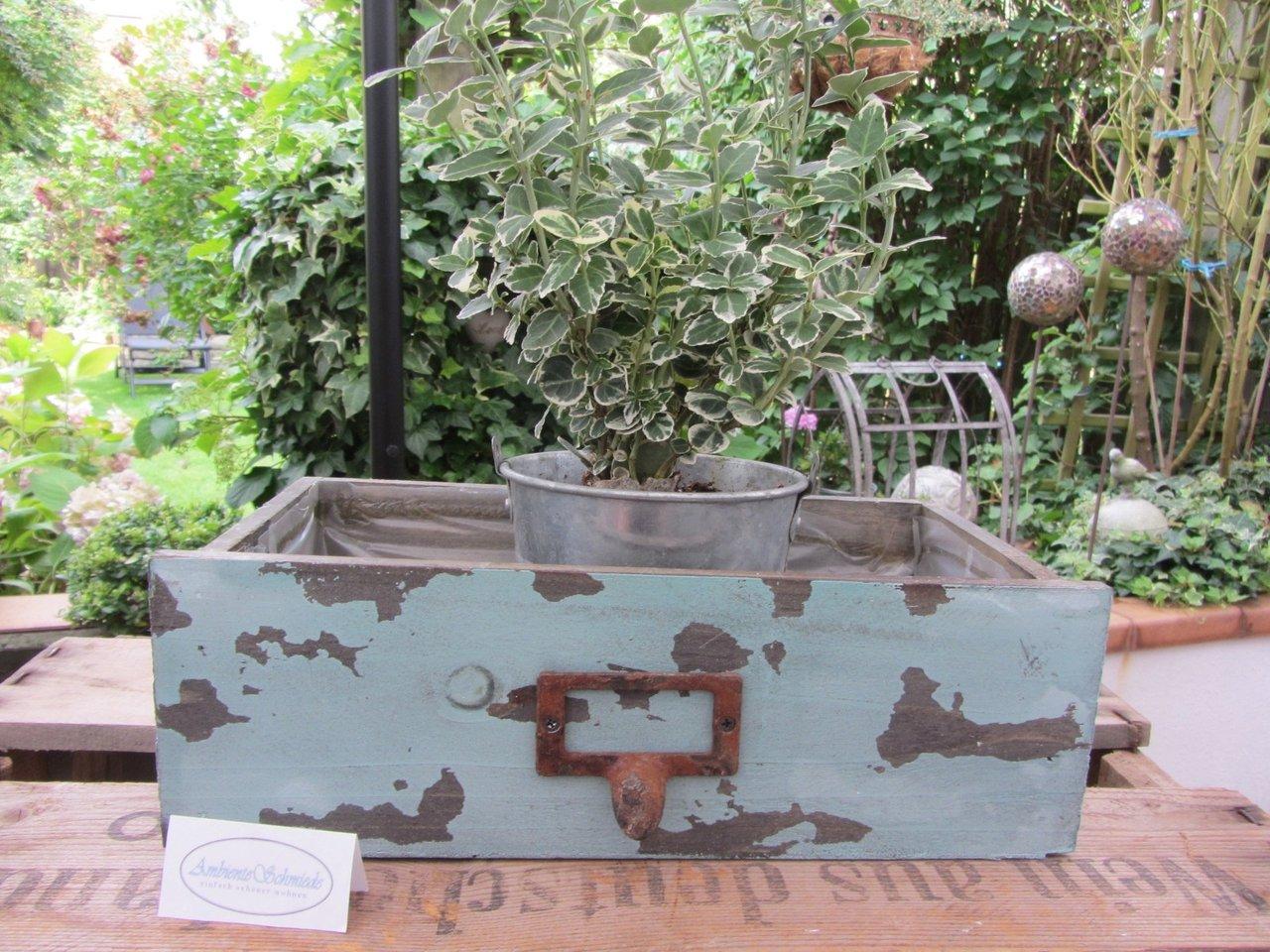Holz Pflanz-Schublade zum bepflanzen türkis Deko Garten Vintage ...