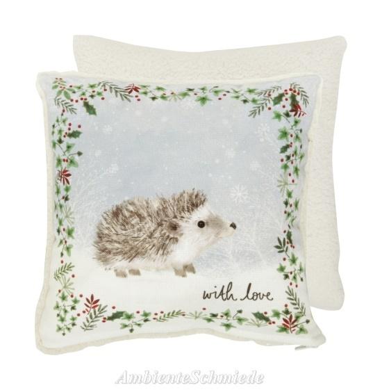 IHR Deko-Kissen MORITZ Igel Kinder Winter Weihnachten Shabby Landhausstil  25x25