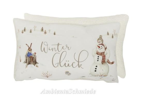 IHR Deko-Kissen HASE & SCHNEEMANN Kinder Winter Weihnachten Shabby  Landhausstil 30x50