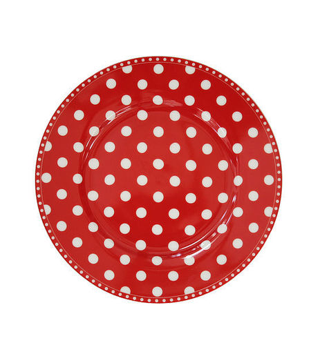 Krasilnikoff Happy Plate Teller Kuchenteller Punkte rot New Dots red zu Happy Mug
