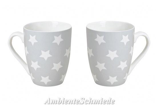 Porzellan Weihnachten.2x Kaffeebecher Tassen Stern E Hellgrau Porzellan Skandi Winter Weihnachten