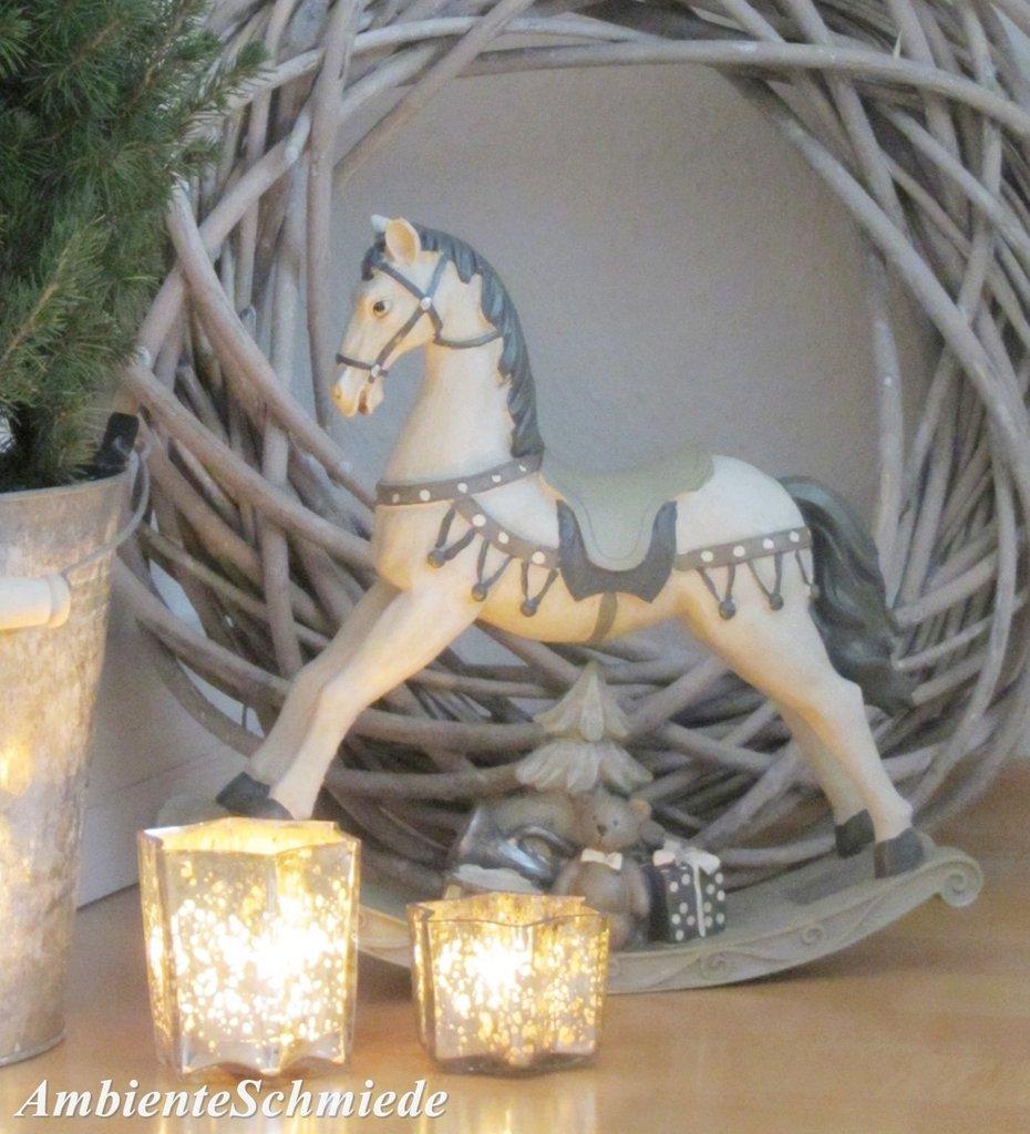Nostalgie Schaukelpferd Pferd Deko Figur Creme Vintage: Deko-Figur SCHAUKELPFERD 30cm Weihnachten Shabby Nostalgie
