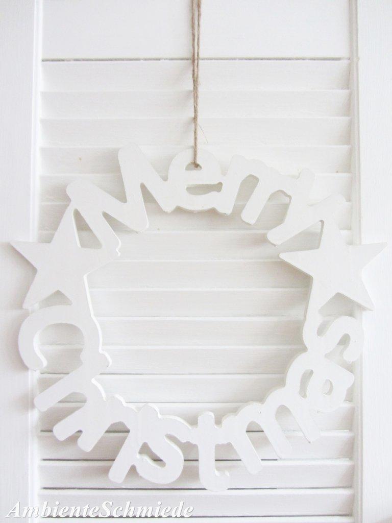 t r kranz holz schild merry christmas wei deko 35 cm. Black Bedroom Furniture Sets. Home Design Ideas