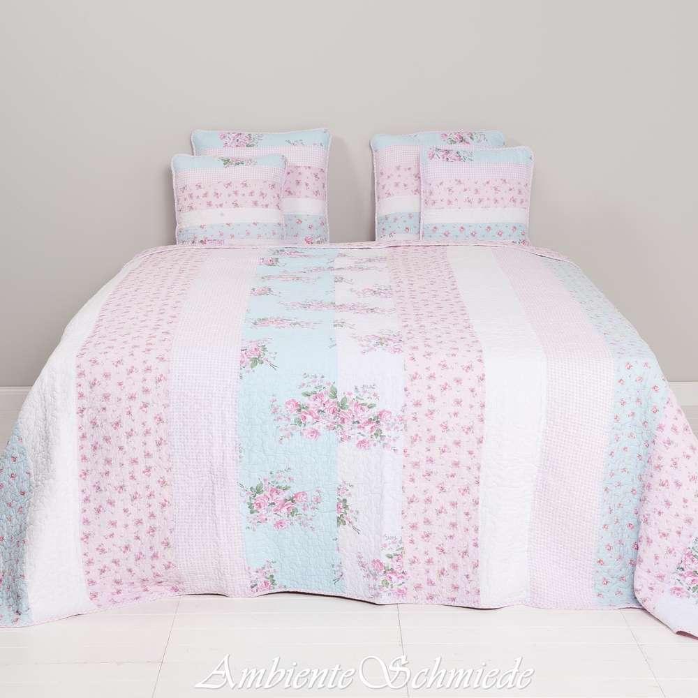 CLAYRE & EEF Quilt 140x220 Tagesdecke Sofa Überwurf Rosen blau Shabby  q138.059