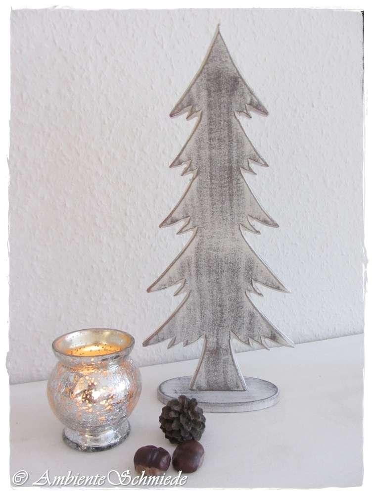 Deko Tannenbaum Holz.Holz Tanne Grau Weiß 38cm Tannenbaum Deko Weihnachten Landhausstil Shabby Advent