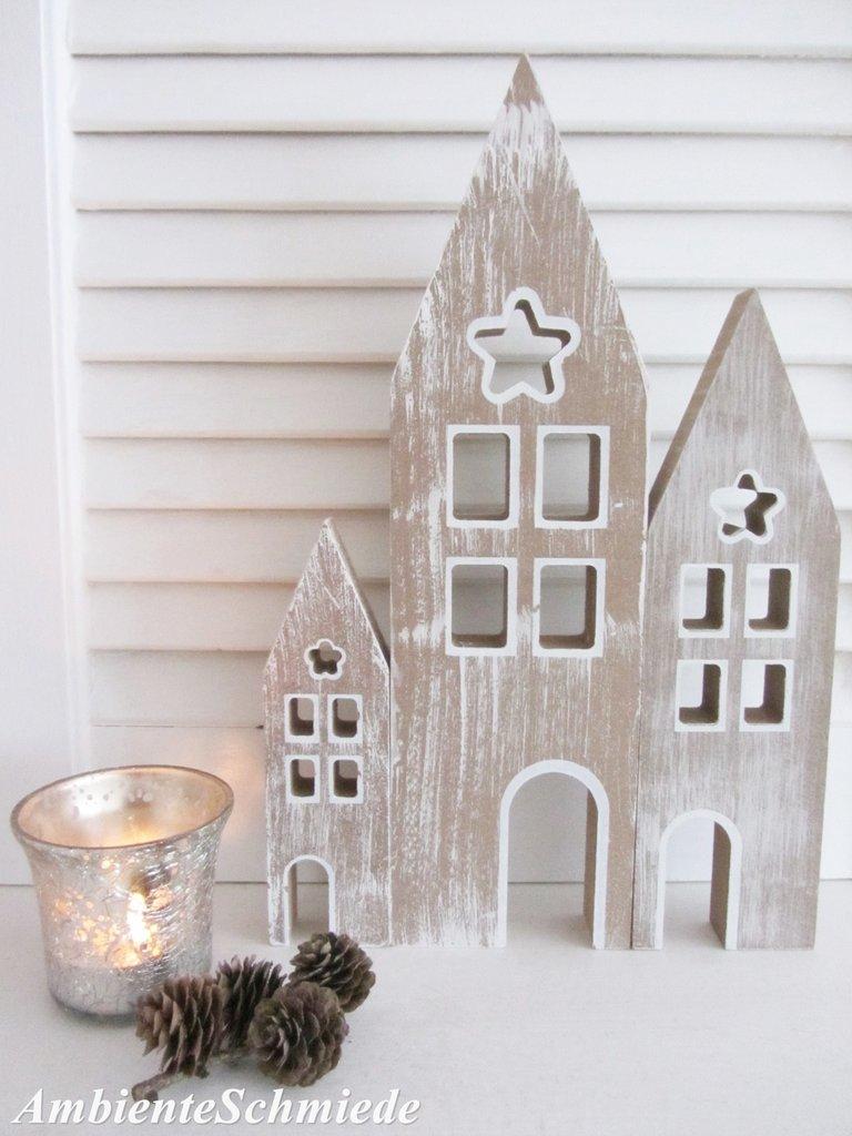 holz haus haus fassade h user kulisse lichterhaus 3 tlg deko weihnachten skandi ambienteschmiede. Black Bedroom Furniture Sets. Home Design Ideas