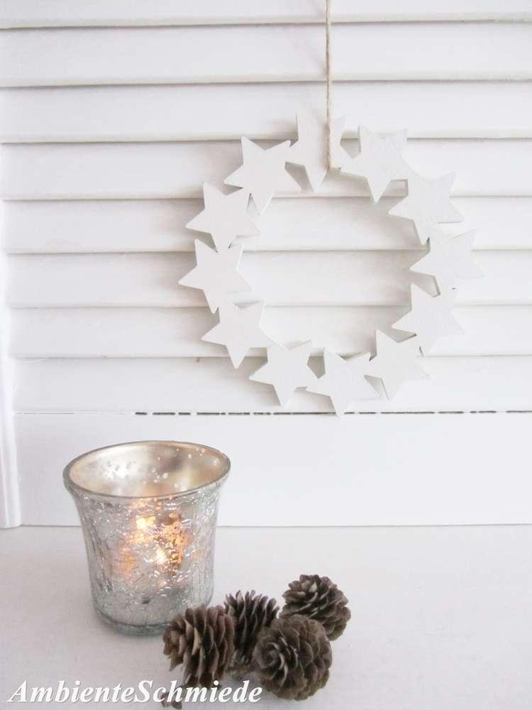 Kranz Sterne Zum Hängen Weiß Holz Fenster Deko 15 Cm Weihnachten