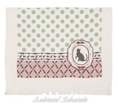 CLAYRE & EEF Gäste-Handtuch PETITE CHAT Katze Punkte Rose mint rosa Shabby ctmpc