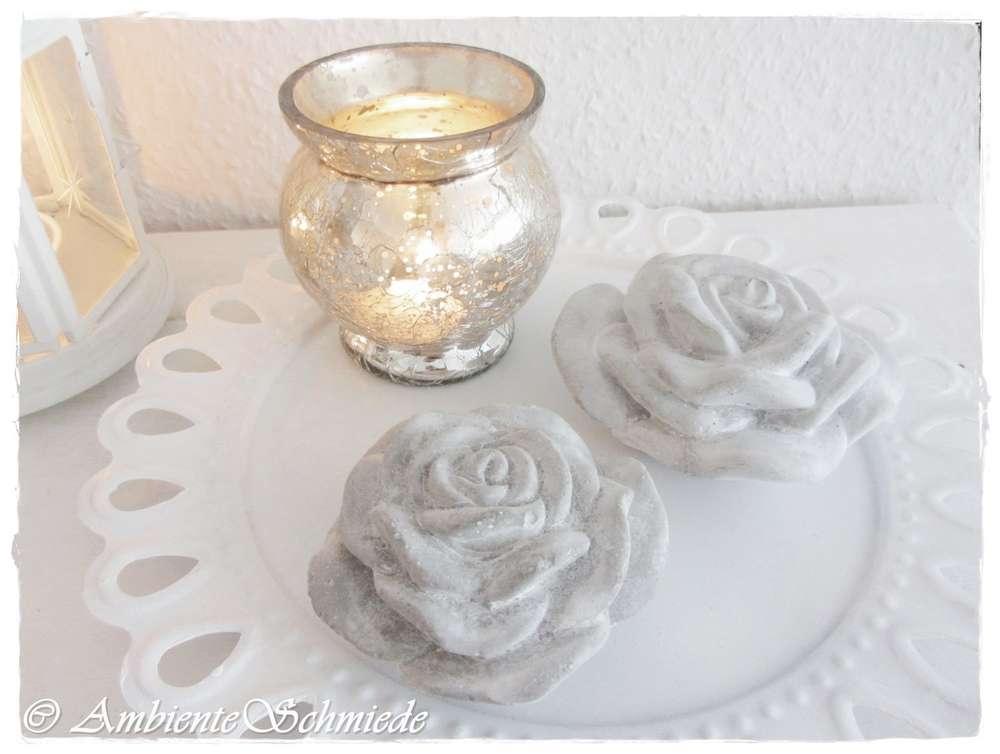 Set Steinrose Betonrose Rose Grau Gewischt Deko Garten Landhaus Stil Shabby  Chic