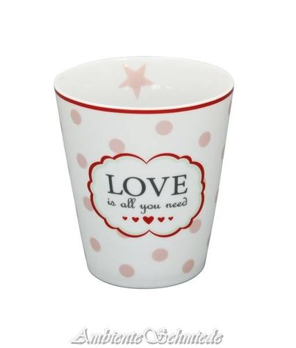 KRASILNIKOFF Happy Mug Becher Tasse LOVE IS ALL YOU NEED rosa Stern Skandi dänisch