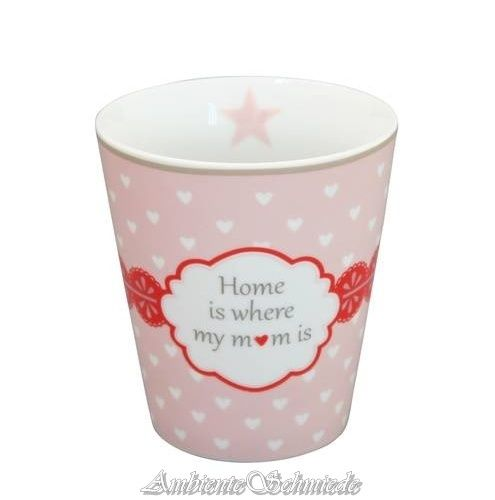 KRASILNIKOFF Happy Mug Becher Tasse HOME IS WERE MY MUM IS Mama rosa Herzen Geschenk