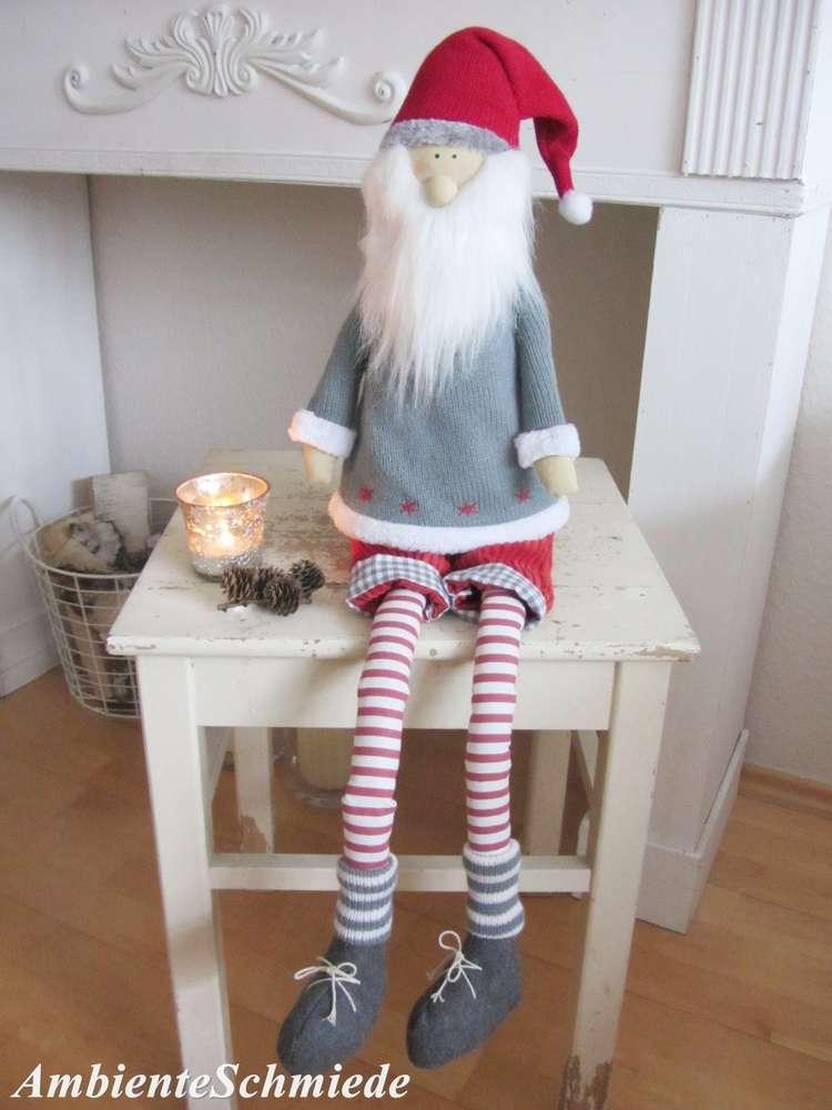 Stoff Weihnachtsmann Santa Wichtel Nisse Puppe 85cm Deko Weihnachten