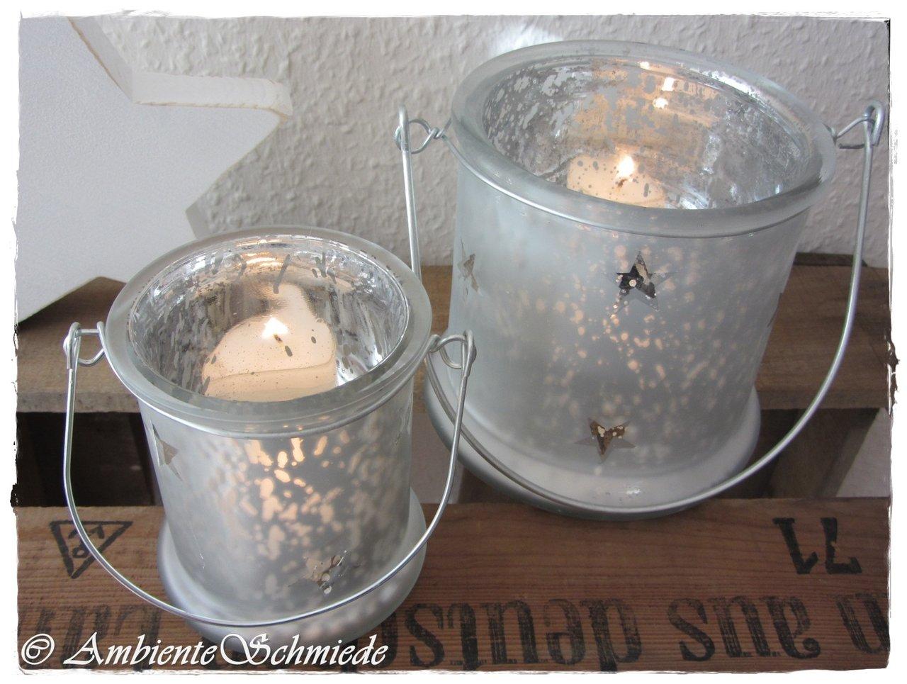 Windlicht Vintage Bauernsilber Silber Antik Sterne