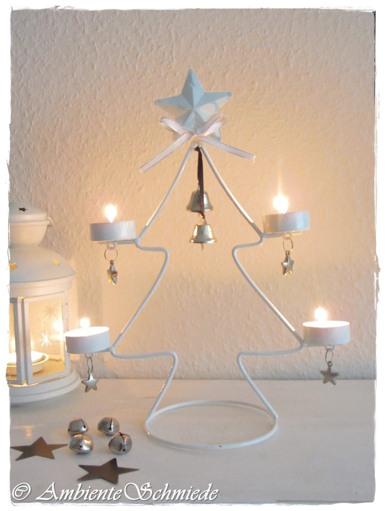 teelichthalter baum tanne adventskranz wei metall. Black Bedroom Furniture Sets. Home Design Ideas