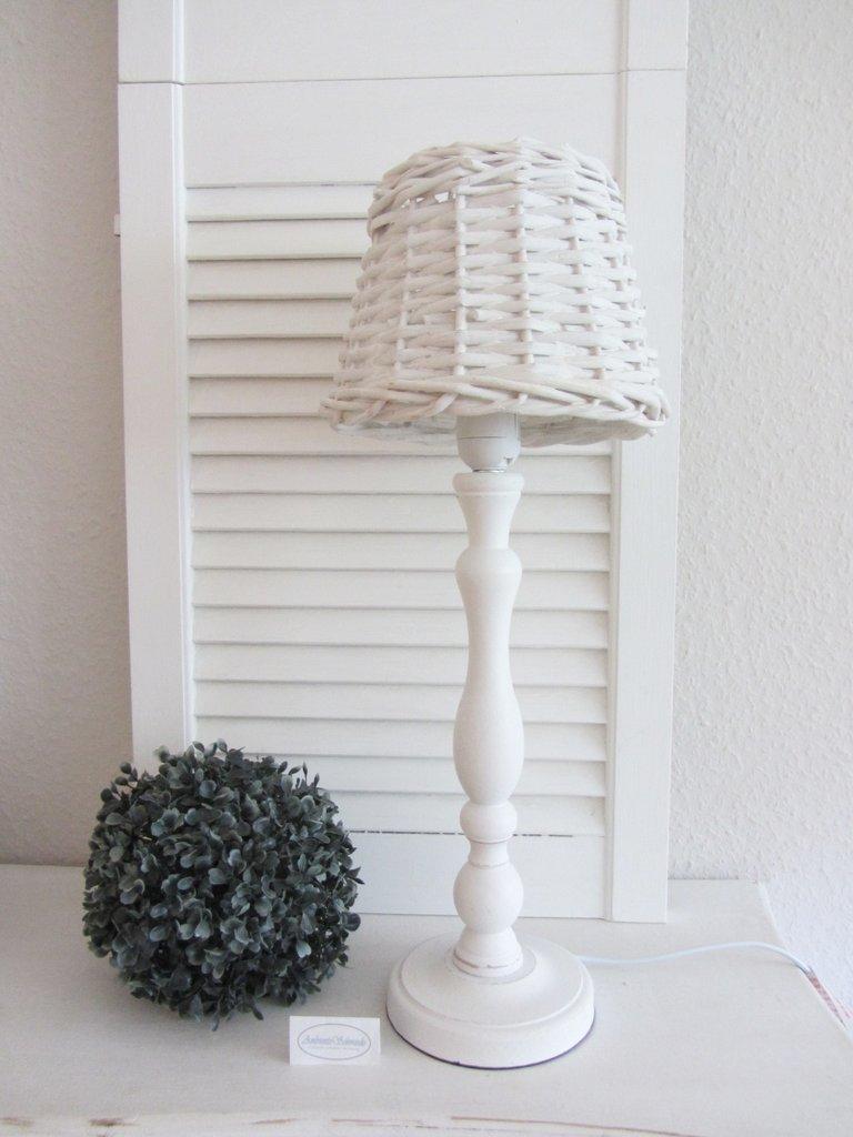 Berühmt Tisch-Lampe antik weiß Holz Rattan Weide Landhausstil Shabby Chic BL06