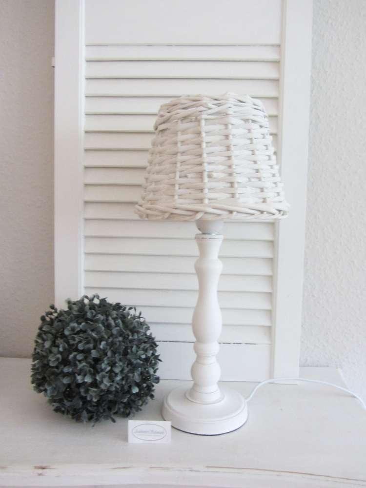 Tisch-Lampe antik weiß Holz Rattan Weide Landhausstil Shabby Chic ...