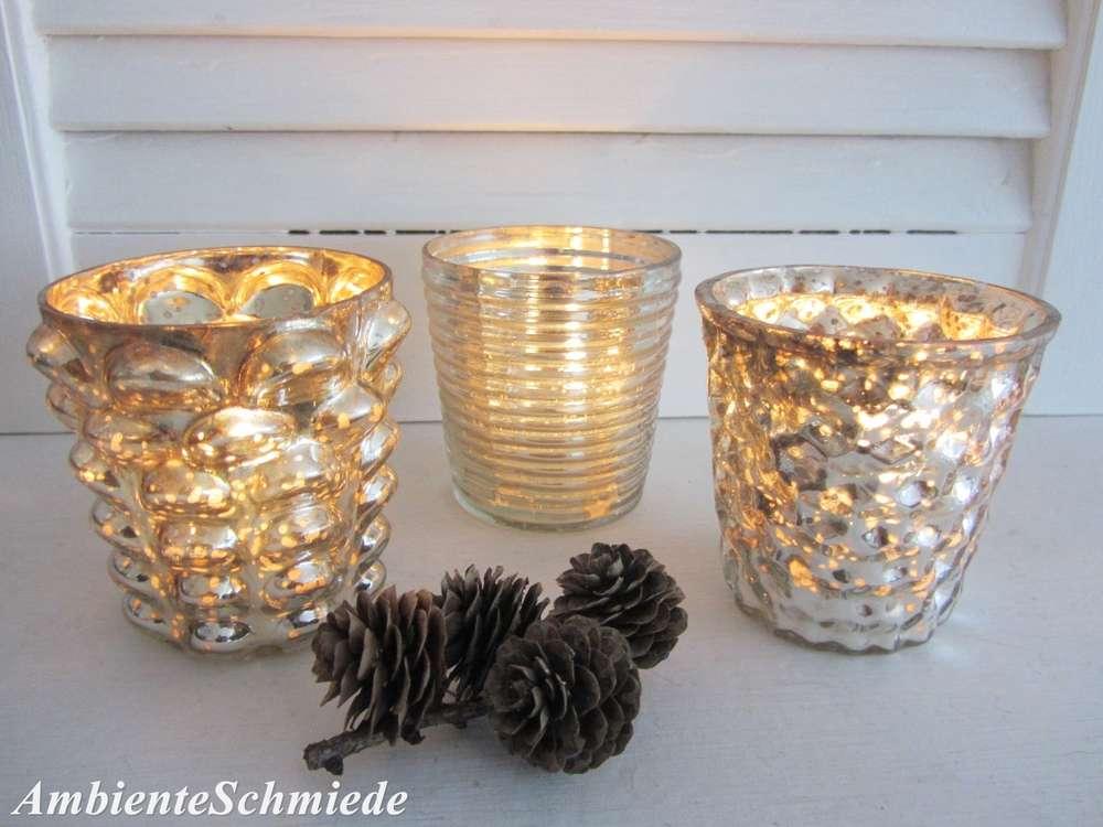 Bauernsilber Christbaumkugeln.3x Teelicht Halter Bauernsilber Glas Silber Antik Landhaus Shabby
