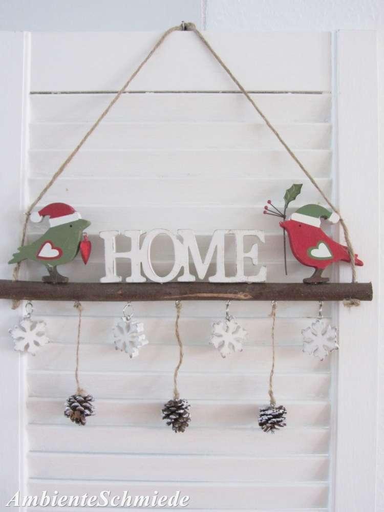 Tur Schild Home Vogel Zapfen Ast Schriftzug Deko Fenster Weihnachten