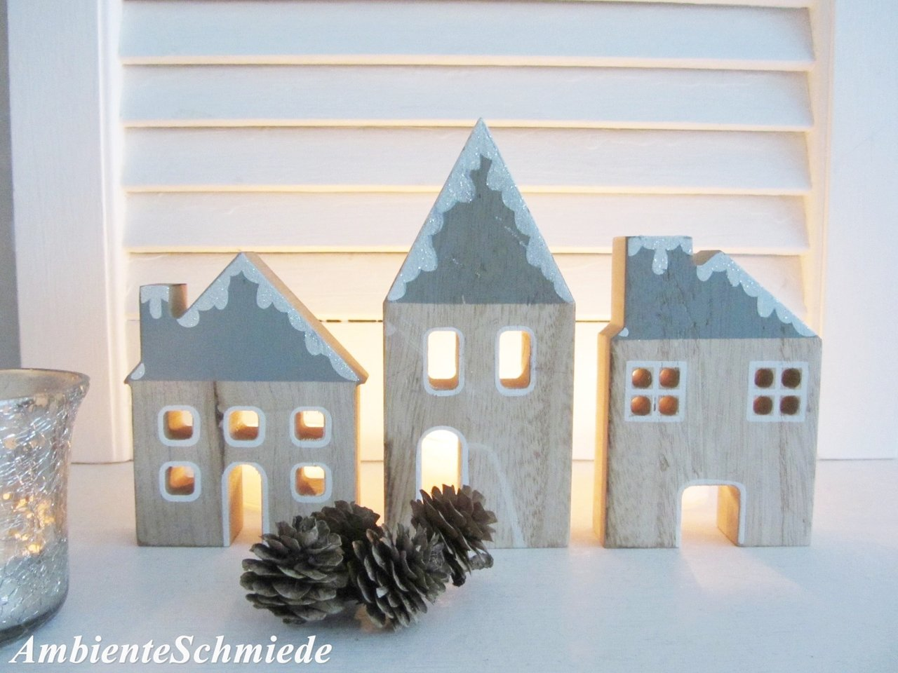 Außergewöhnlich Fassade Haus Galerie Von Holz -fassade Häuser-kulisse 3 Tlg Deko Weihnachten