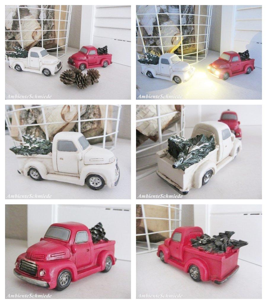 pick up auto mit tannenbaum led licht deko weihnachten shabby nostalgie 12cm ambienteschmiede. Black Bedroom Furniture Sets. Home Design Ideas