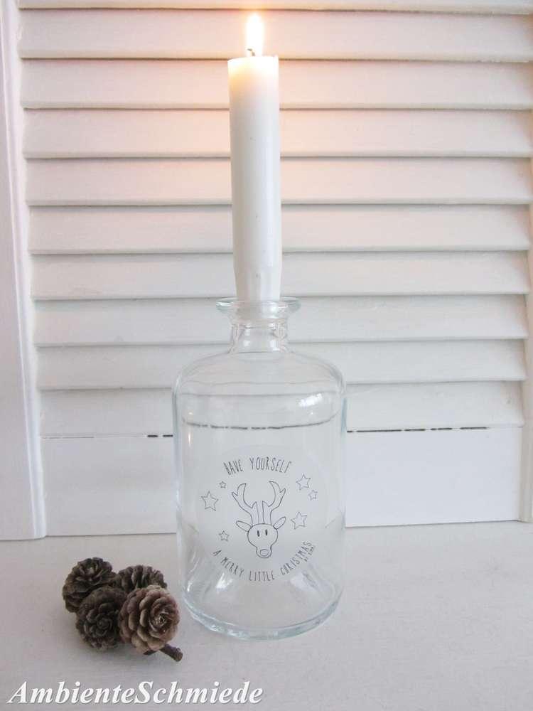 Kerzenhalter Weihnachten.Kerzenhalter Flasche Weihnachten Advent Deko Landhaus Shabby Skandi
