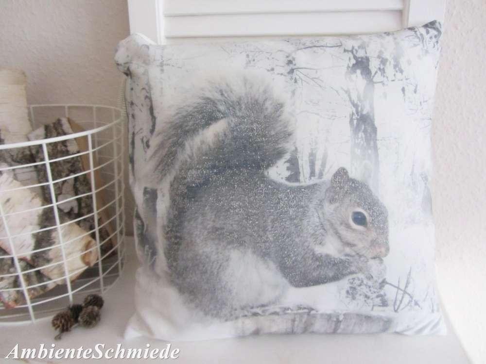 Kissen EICHHÖRNCHEN grau silber weiß Foto Wald Schnee Deko ...