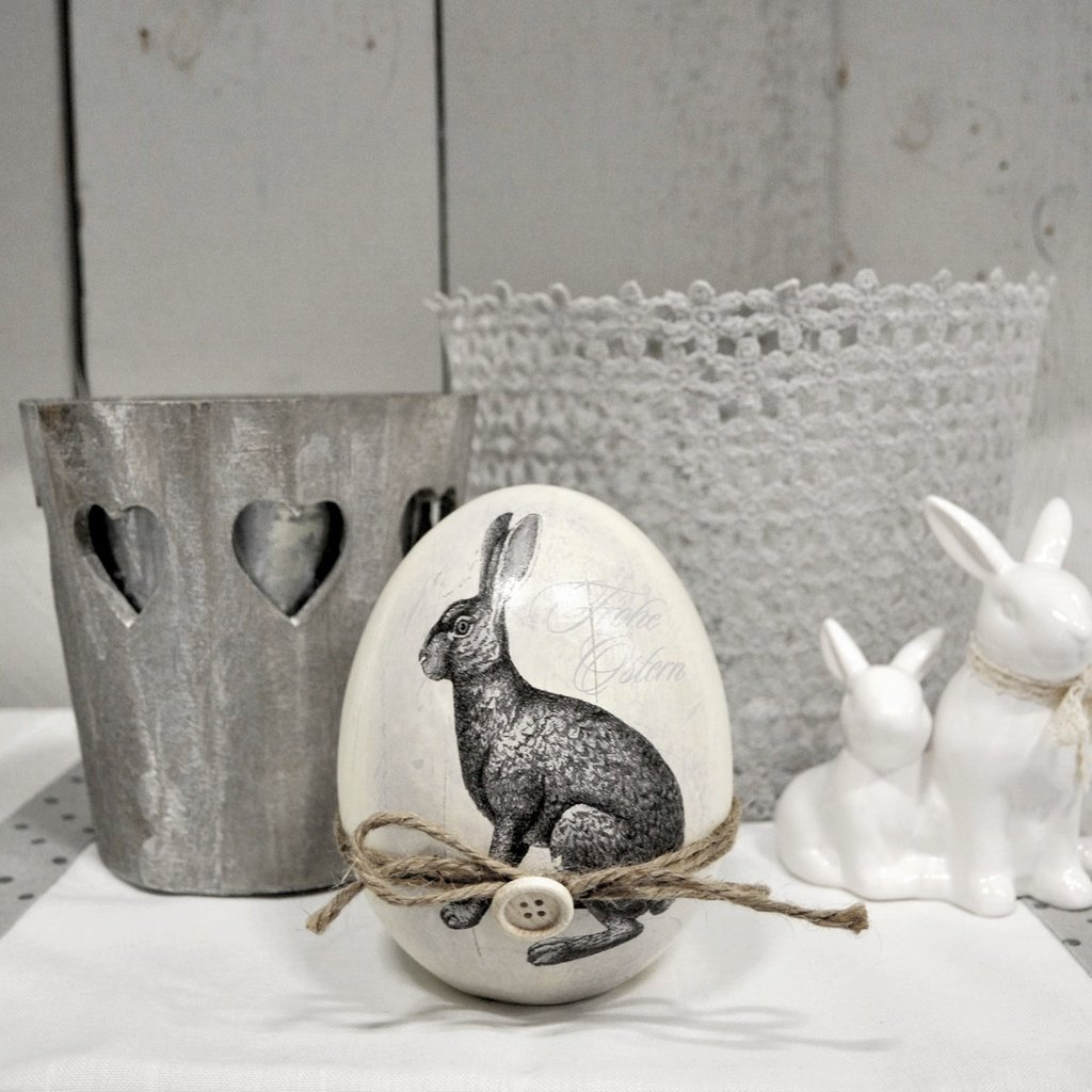 shabby vintage deko ei osterei ostern poly 14cm osterhase frohe ostern ambienteschmiede. Black Bedroom Furniture Sets. Home Design Ideas
