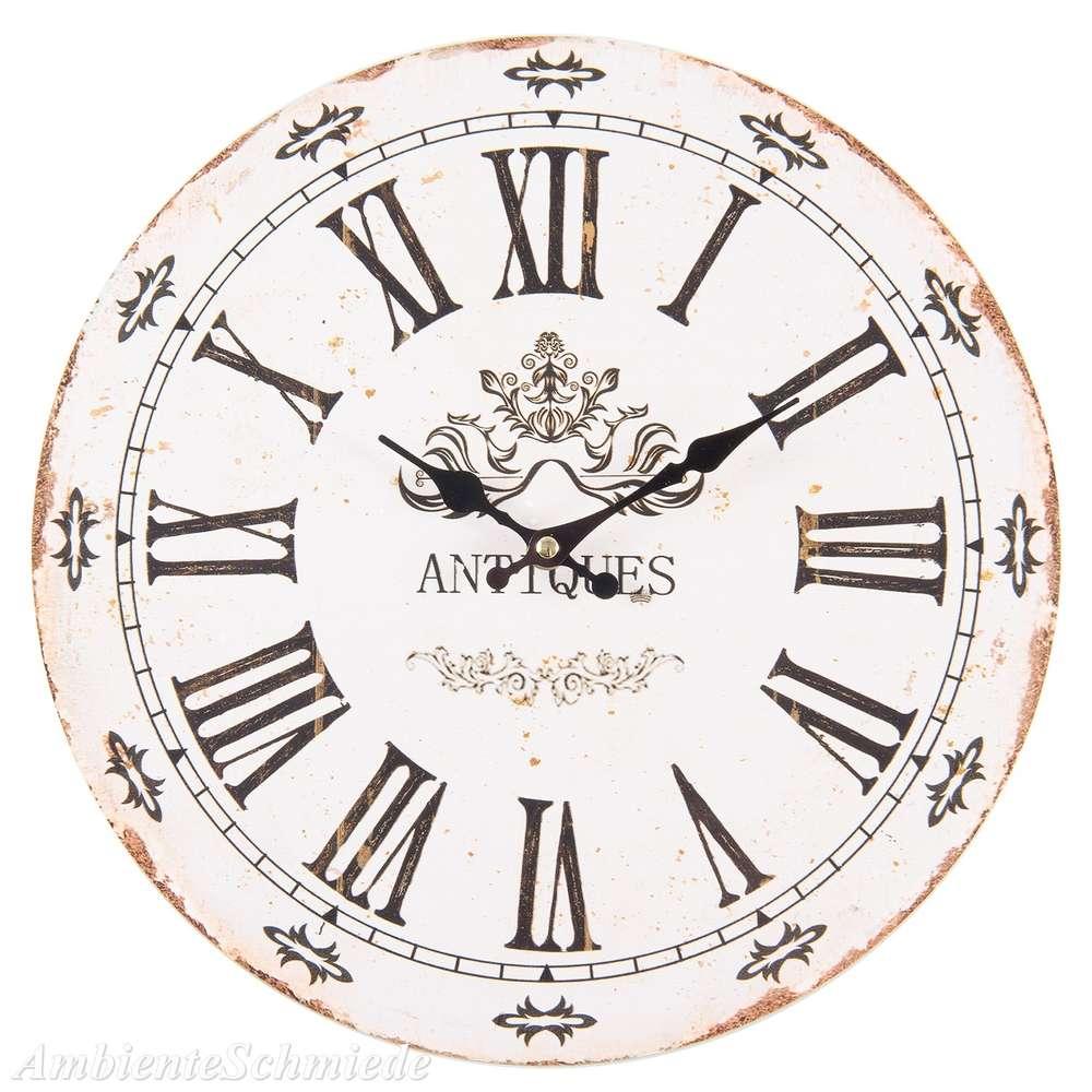Uhr Wanduhr Kuchenuhr Antiques 34cm Weiss Antik Shabby Vintage