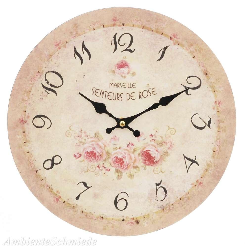 Uhr Wanduhr Kuchenuhr Rosen 29cm Shabby Vintage Landhaus