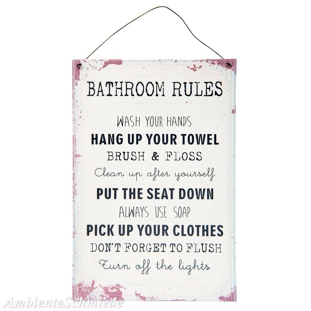 Blech-Schild Bad Badregeln Badezimmer-Regeln Bathroom Shabby Vintage  Landhaus antik