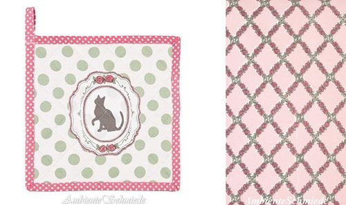 CLAYRE & EEF Topflappen PETITE CHAT Katze Punkte Rose mint rosa Shabby Chic mpc45