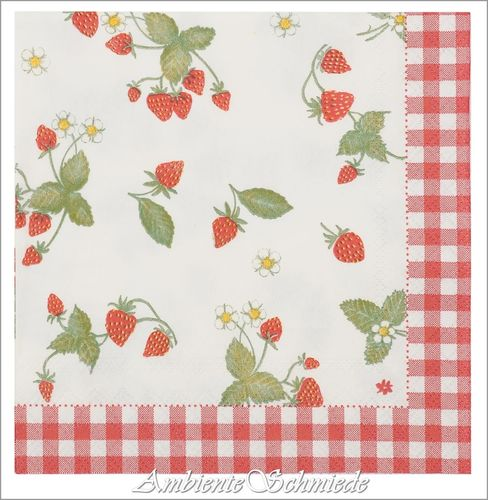 CLAYRE & EEF Servietten STRAWBERRY GARDEN Erdbeeren rot 33x33 Landhausstil sg73