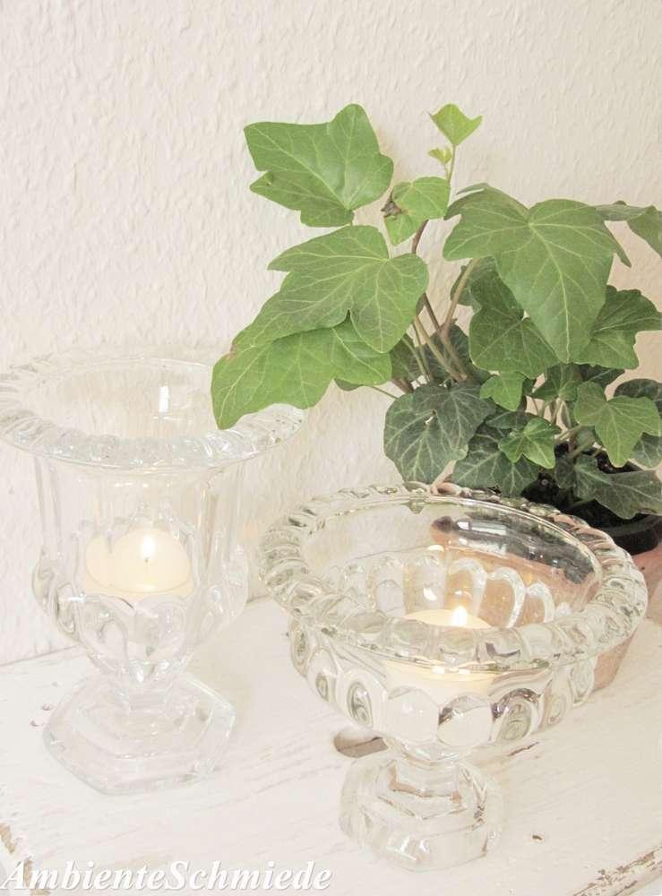 2er Set Teelichthalter Windlicht Pokal Schale Press Glas Deko Garten Shabby  Vintage Antik