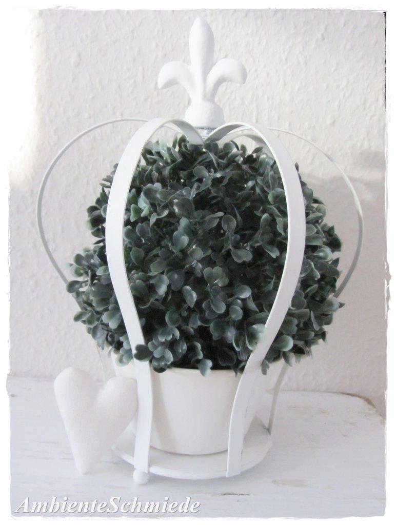 Deko Pflanzkrone Grau O Creme Weiss Antik Garten Landhaus Shabby Vintage Ambienteschmiede