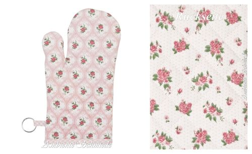 CLAYRE & EEF Ofenhandschuh LOVELY ROSE-n Blumen rosa-pink Shabby lor44
