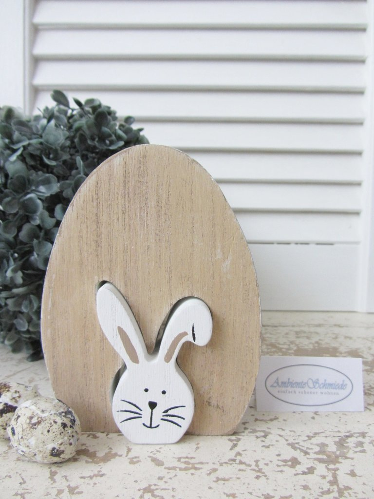 holz osterhase hase osterei ei wei oster deko ostern fr hling shabby ambienteschmiede. Black Bedroom Furniture Sets. Home Design Ideas