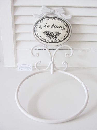 Handtuchhalter-Ring Handtuch-Ring LE BAIN Metall weiß Shabby French Landhaus