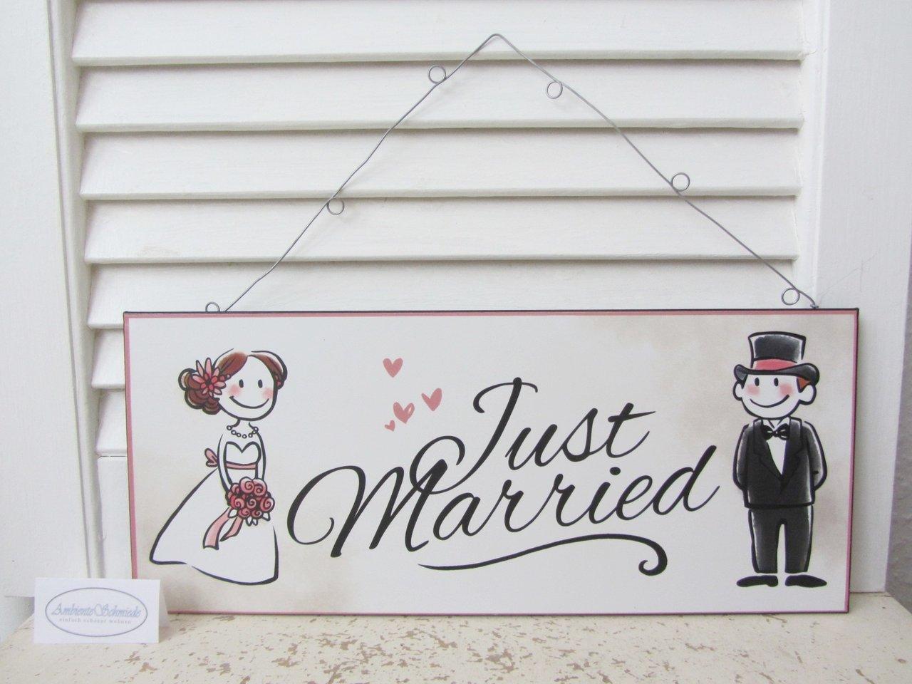 Deko Schild Bild Just Married Geschenk Hochzeit Frisch Verheiratet Ehepaar Metall Shabby Ambienteschmiede