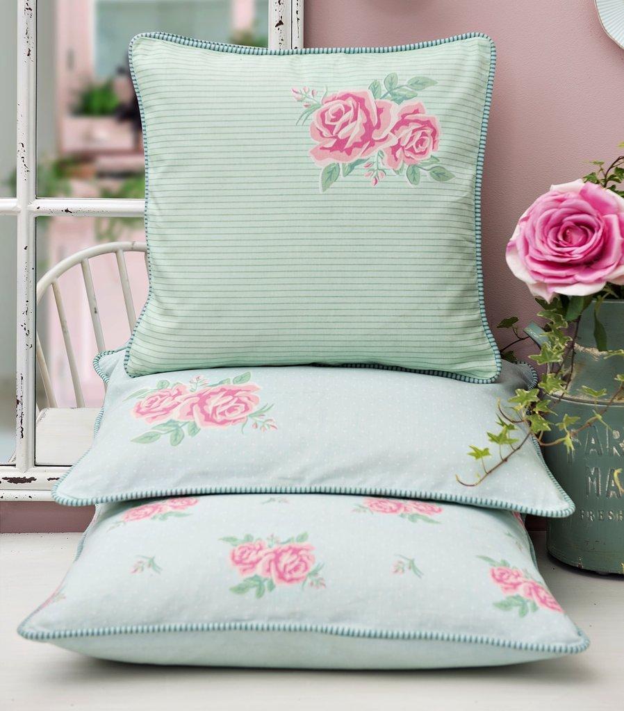 clayre eef kissen h lle kissen bezug rosen mint t rkis rosa pink shabby landhaus. Black Bedroom Furniture Sets. Home Design Ideas