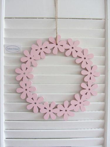 t r kranz blumen kranz zum h ngen rosa pastell holz. Black Bedroom Furniture Sets. Home Design Ideas