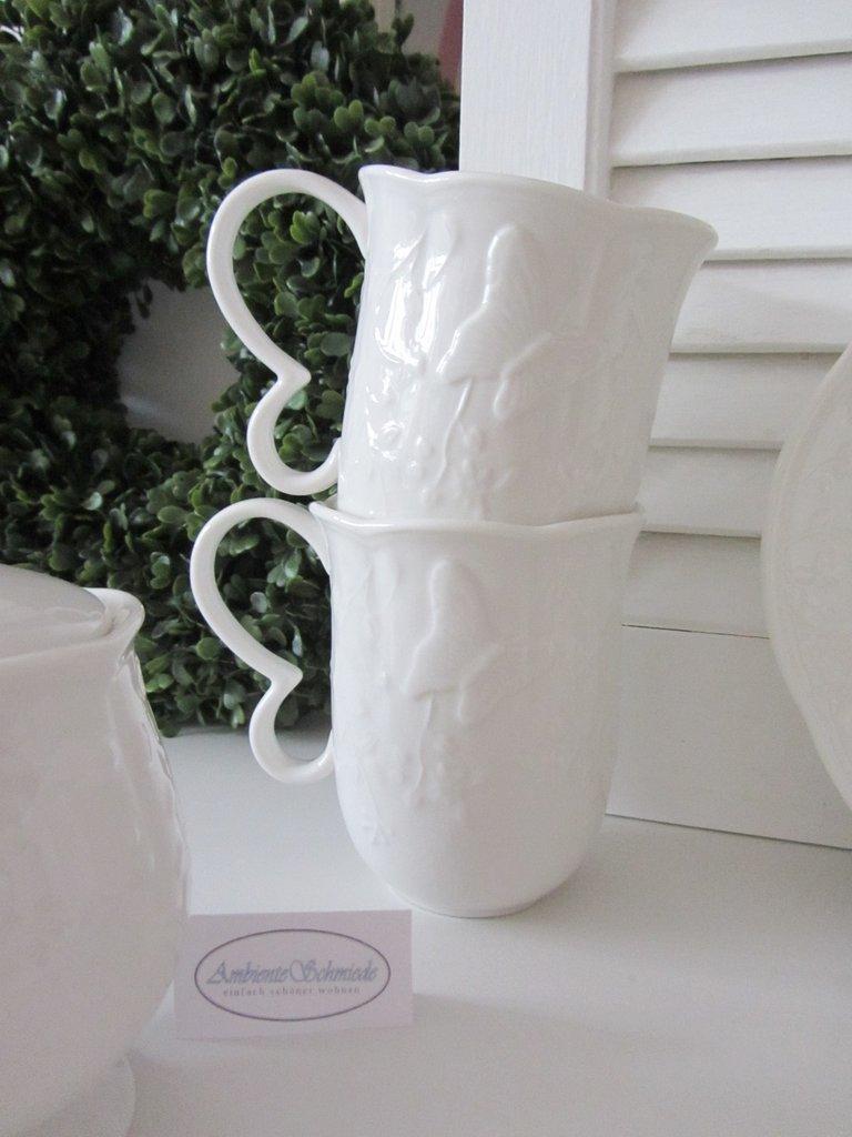 Clayre Eef Tasse Kaffeebecher Schmetterling Geschirr Weiss Shabby Vintage Landhausstil Ambienteschmiede