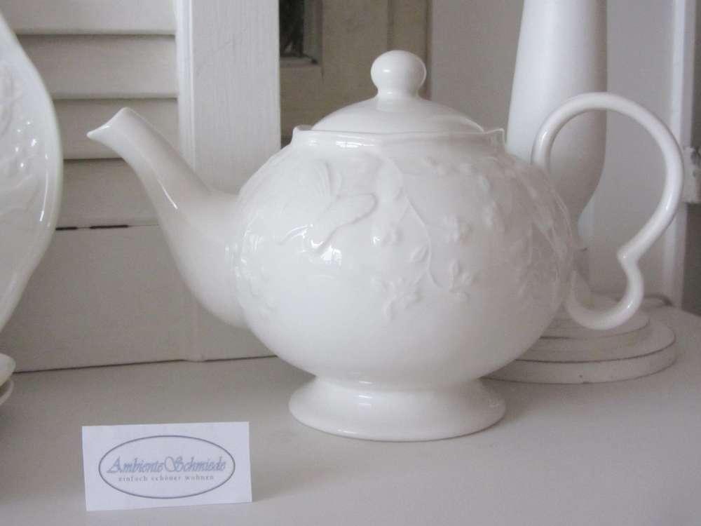 Geschirr Landhausstil clayre eef teekanne kaffee kanne schmetterling geschirr weiß