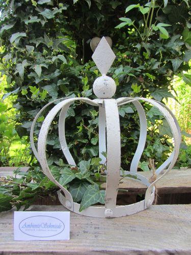 Garten Landhausstil deko krone antik weiß 21cm garten landhausstil shabby vintage