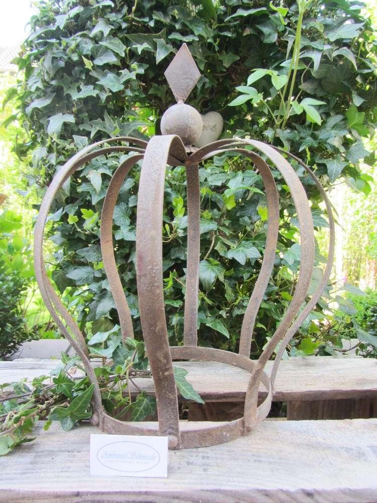 Garten Landhausstil deko krone antik braun rost 30cm garten landhausstil shabby vintage