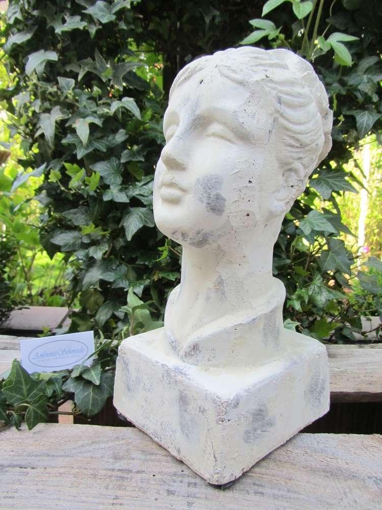 Deko-Figur BÜSTE Frauenkopf Lilie creme-weiß-grau-antik Deko Garten ...
