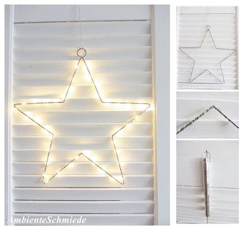 Stern Perlen Silber Eiskristall Metall Weiß Weihnachten: Lampen & Lichter