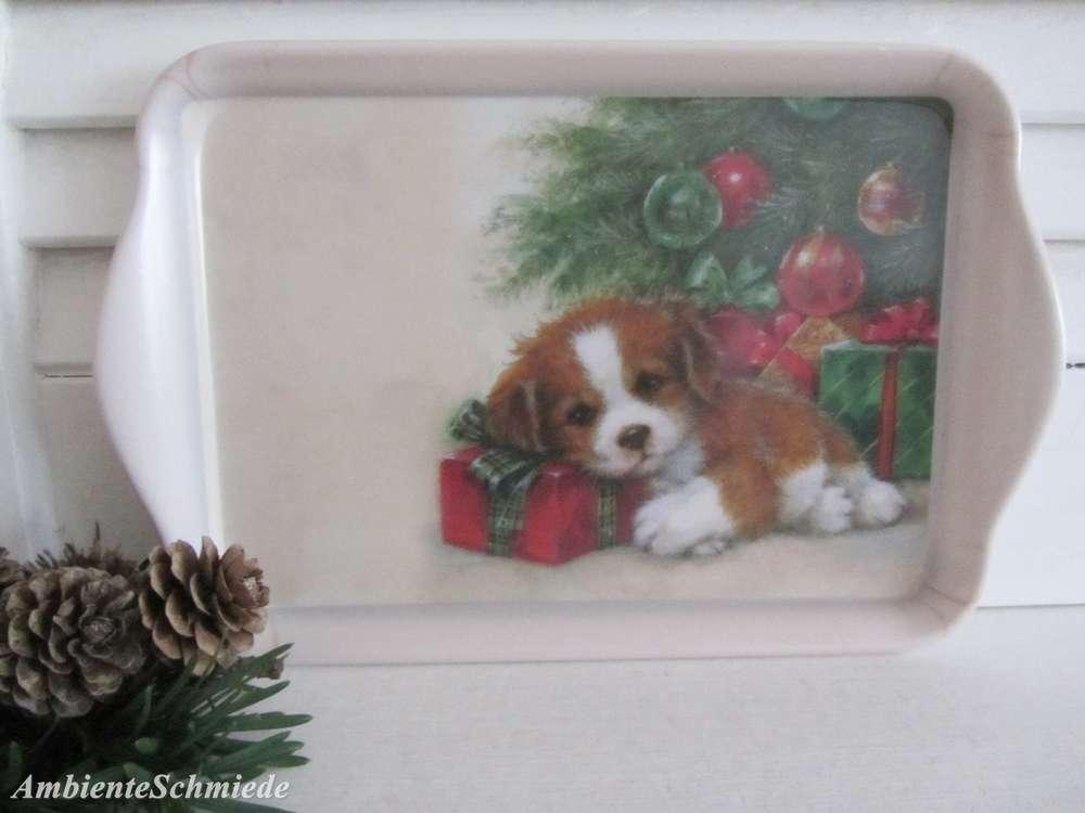 Ambiente Kleines Tablett HUND Weihnachtsbaum Geschenke Melamin ...