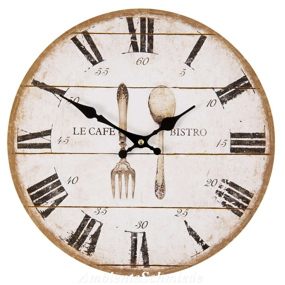 Uhr Wanduhr Kuchenuhr Besteck Bistro Cafe 34cm Shabby Vintage Antik